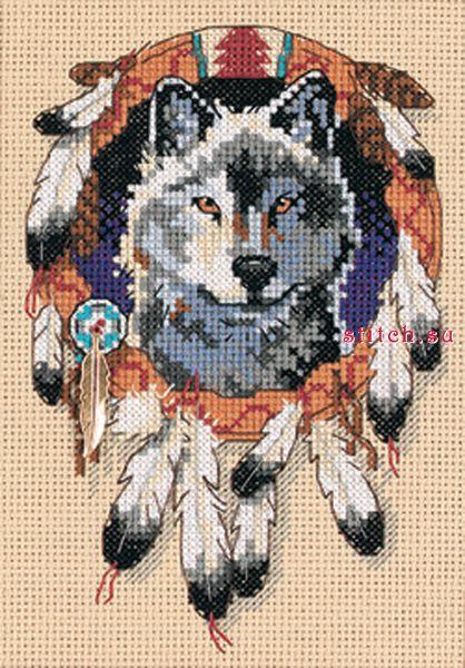 Индейский волк.  Вышивка крестом, схемы.  Оригинальное сообщение.  СХЕМА.  Taklis.  Это цитата сообщения.