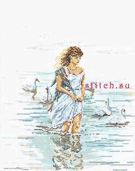 Девушка у моря.  Вышивка крестом, схемы.