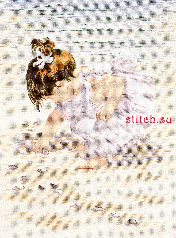 Схема для вышивки панно - девочка, собирающая ракушки.  В работе используются нити голубых, синих, зеленых, бежевых...