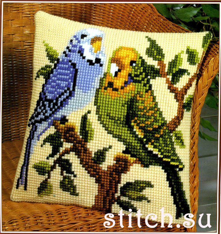 Вышивка крестом волнистые попугайчики 12