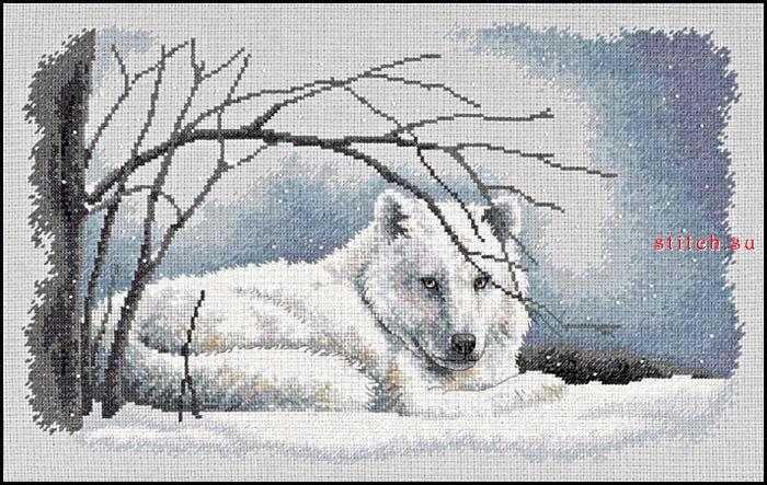 Вышитые картины Картина Белый волк.