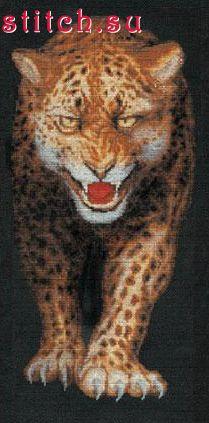 125.00. В состав набора входит: канва ZWEIGART (Германия)...  Леопард.  Техника вышивания: Счетный крест.