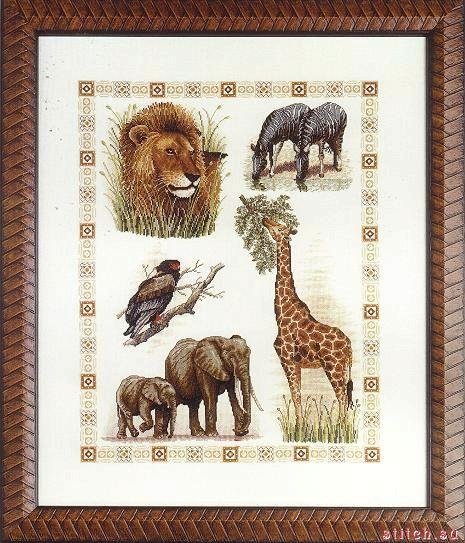 Вышивка с африканскими животными 12