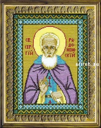 Размер (Ш х В): 115 х 147 крестиков.  Цветов: 14.  Автор: Риолис.  Сергий Радонежский был русским монахом, а после...