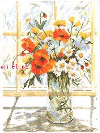 """Схема вышивки  """"Цветы на окне """" ."""