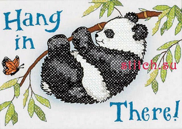 Название: Панда держись.  Размер: 13x18 см. Состав: рисунок полностью напечатан крестиками на легкой ткани...