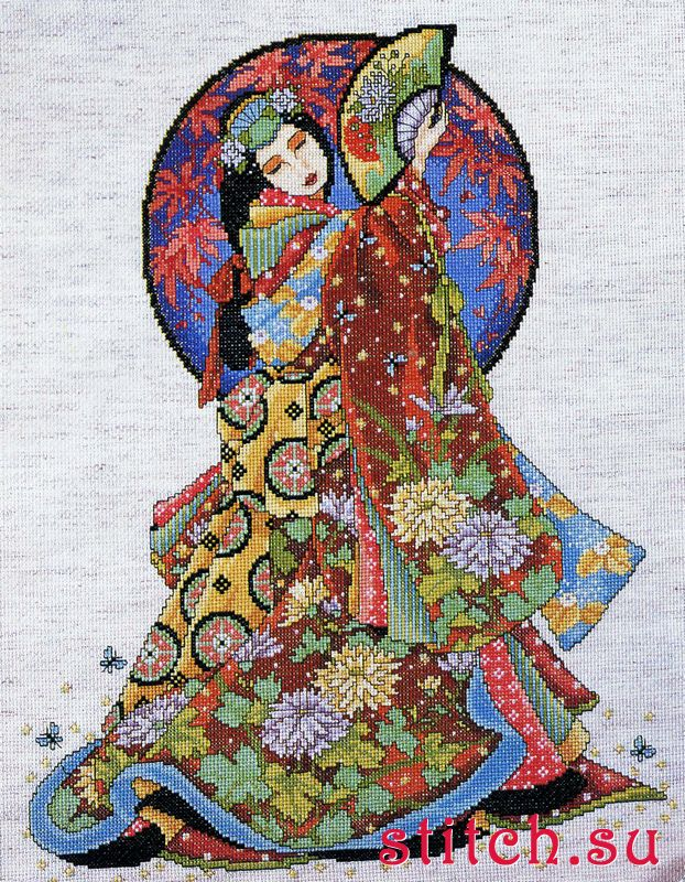 Asian counted cross design stitch