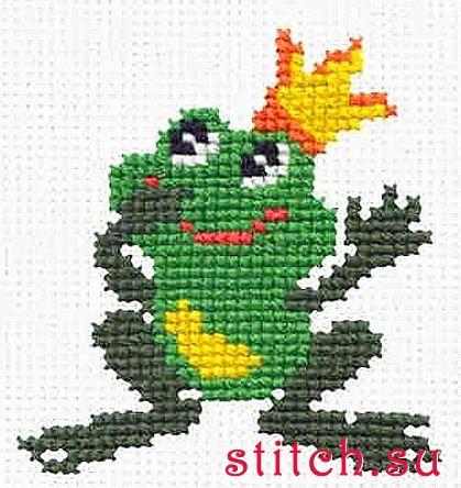 Вышивка крестиком лягушка