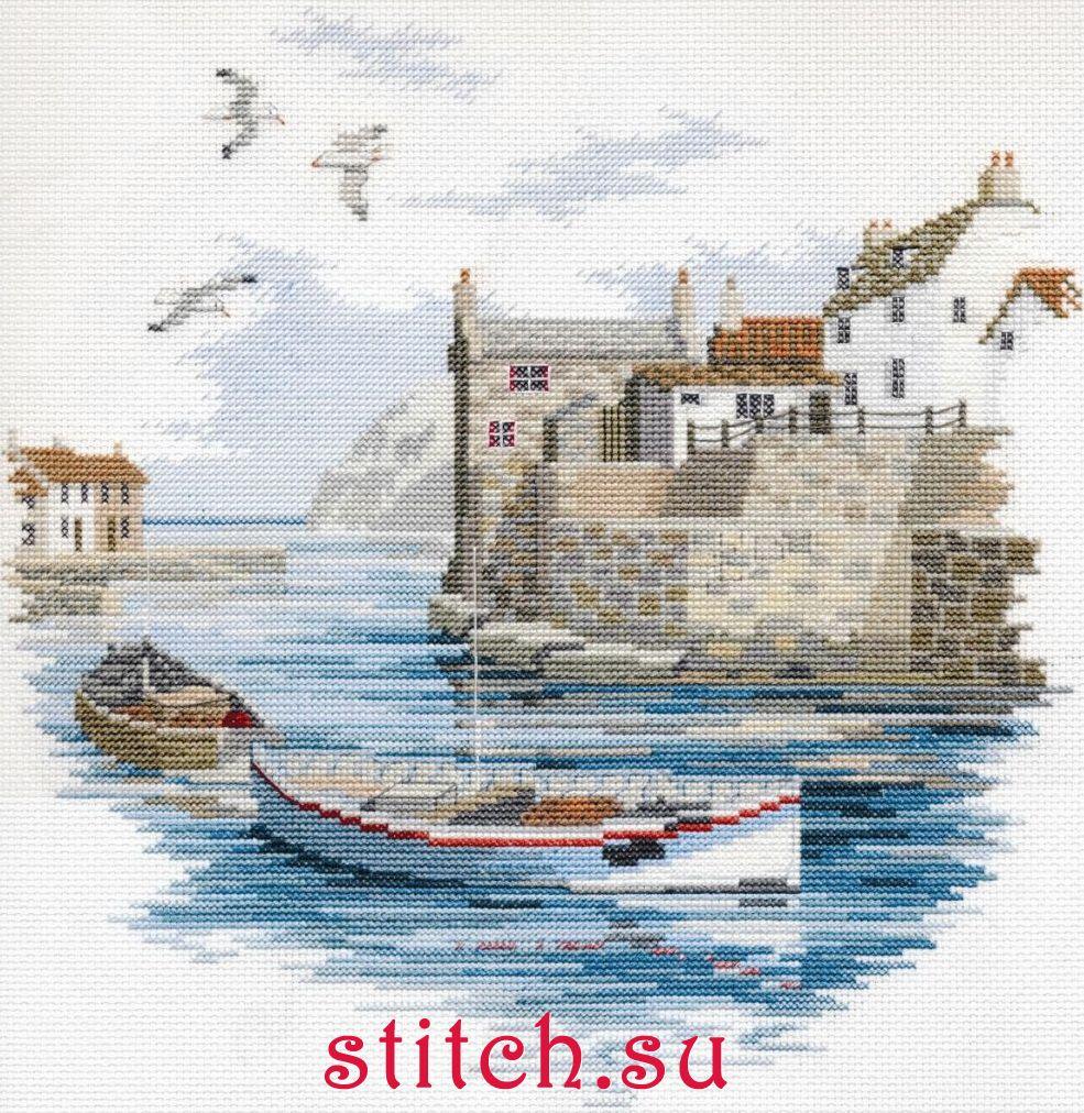 Вышивка крестом лодки и море