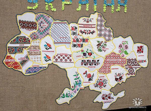 Карту Украины вышивали более