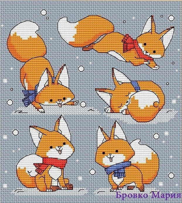 Схема вышивки крестиком лисы 76