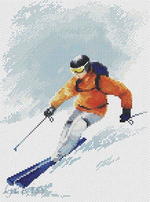 Схема вышивки лыжника