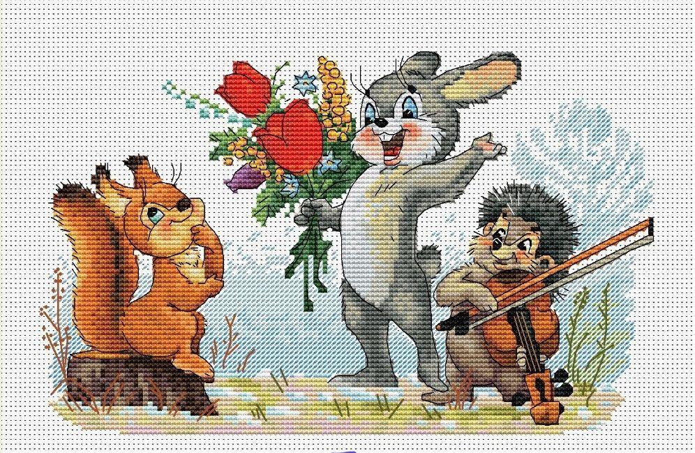 Схема вышивки советские открытки 86