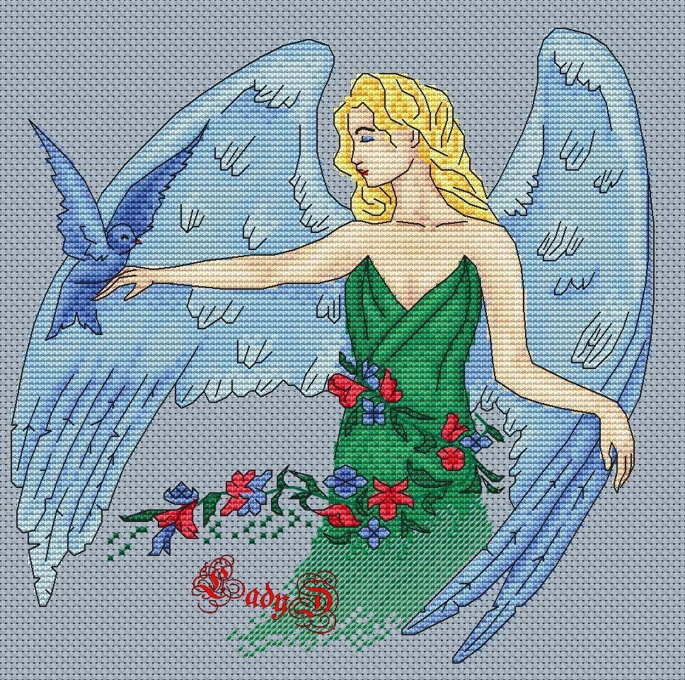 большая схема для вышивания ангел