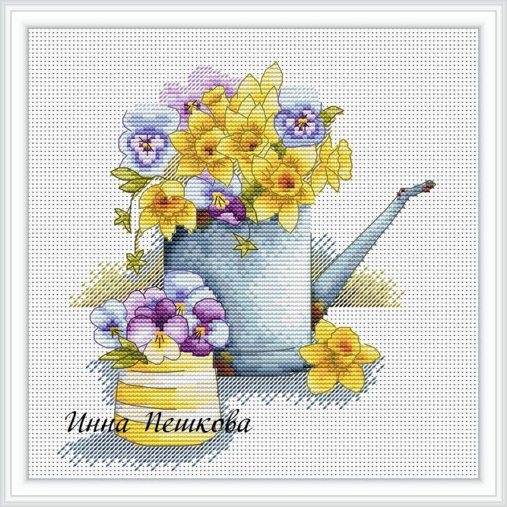 Лейка с цветами вышивка