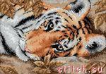 Я так поняла, что сам тигр вышивается крестом в 2 нити, а листочки вокруг него п/крестом в 1 или 3 нити.