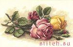 Вышивание. вышивка крестом.  Срезанные розы.