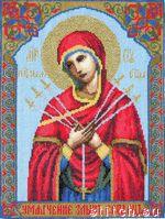 495 руб.Кисея. икона Пресвятая Богородица Семистрельная, 20,6х27,2, счетный крест.