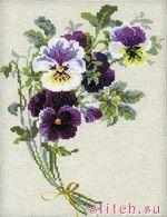 Набор для вышивания Анютины глазки на льне, Риолис 1020 купить в санкт петербурге Шале, Aida 14 (К5.5), Лен...