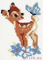 """В набор для вышивания  """"Бэмби """" от компании Риолис входят: 5 цветных шерстяных ниток, канва белая хлопковая К4..."""