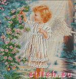 Ангелочек и розовый куст.