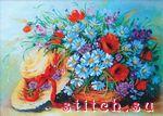 ...входит бисер Чехия 16 цветов, ткань для вышивания с нанесенным рисунком, бисерная игла и цветная схема-инструкция.