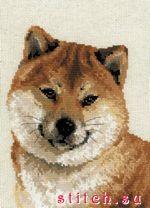 Набор для вышивания Японская лайка, Риолис 1280 купить в санкт петербурге Шале, Aida 10, Счетный крест.