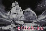 """Вышивка крестом.  Теги.  DMC, 9 цветов. море. луна. лунный путь.  0. Схемы вышивки  """"корабли """". елена72."""