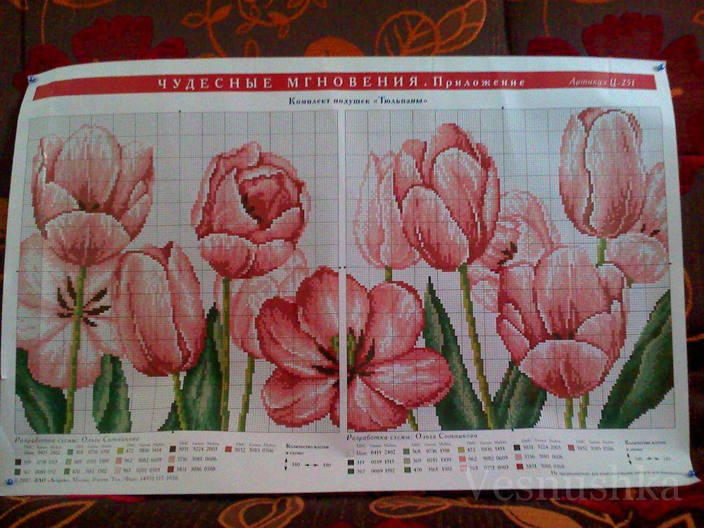 """Схема для вышивки двух подушечек-думок  """"Тюльпаны """" ."""