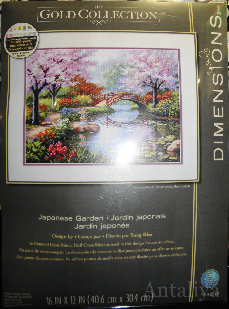 Японский сад вышивка дименшенс