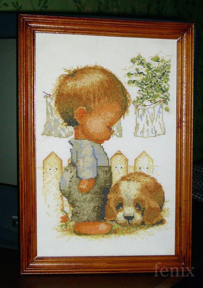 Схема для вышивки мальчик с собачкой