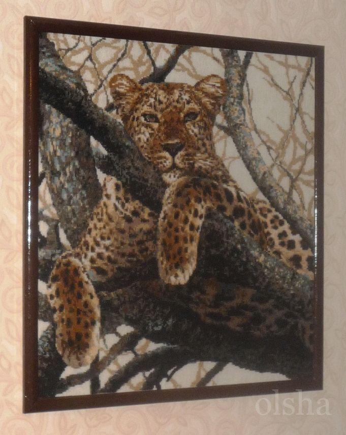"""Работа пользователя.  Комментарий: Набор для вышивки крестом  """"Леопард """" Риолис шерсть; рамочный размер: 60*60 см..."""
