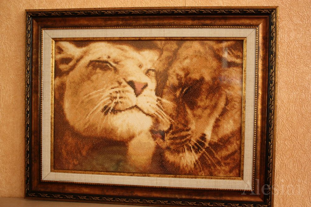 Влюбленные львы вышивка - цветы из органзы своими руками (бу.