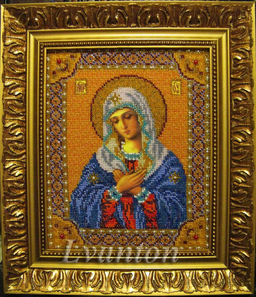 Вышивка икон. Иконы вышитые бисером и драгоценными камнями