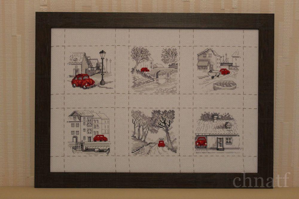 Вышивка крестом путешествие красной машинки