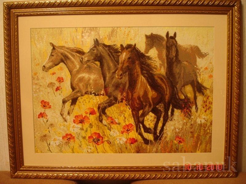 Лошади вышивка готовых работ