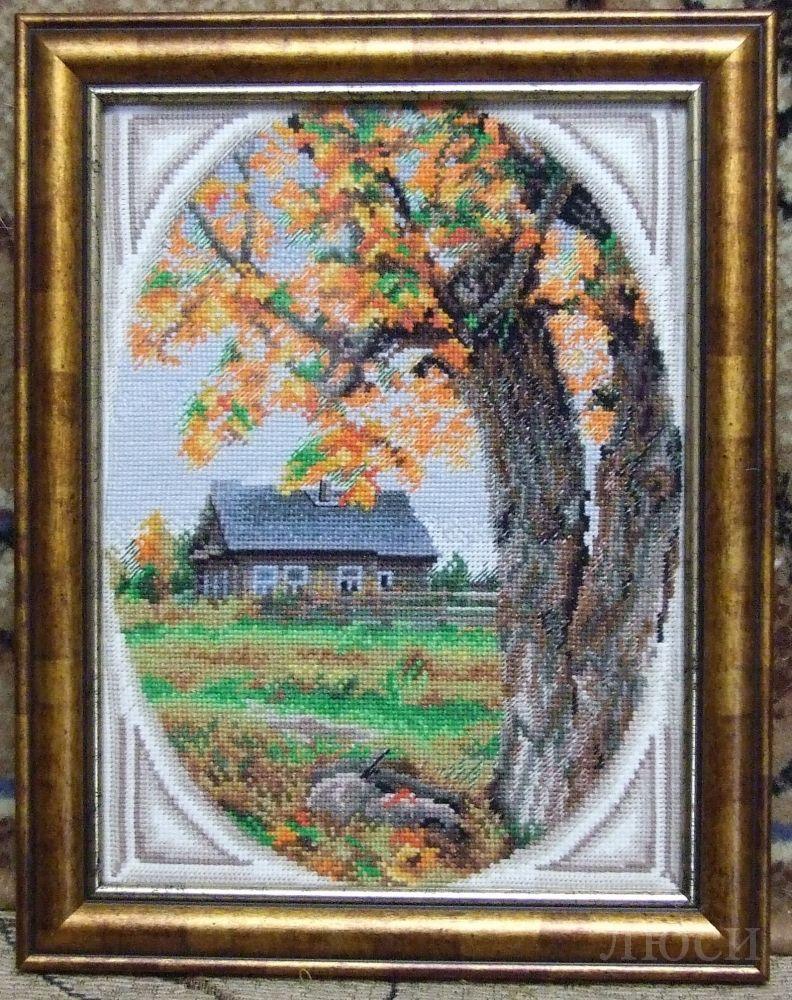 Вышивка крестом схема осенний пейзаж коллаж.