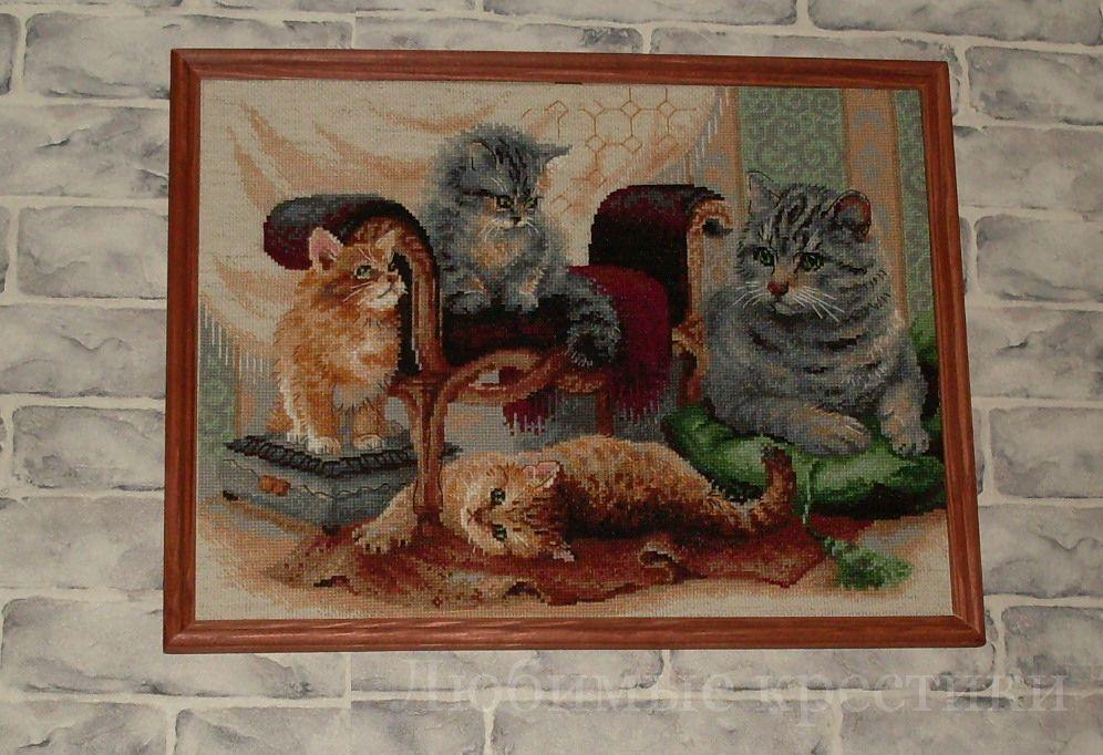 Кошачье семейство вышивка крестом 89