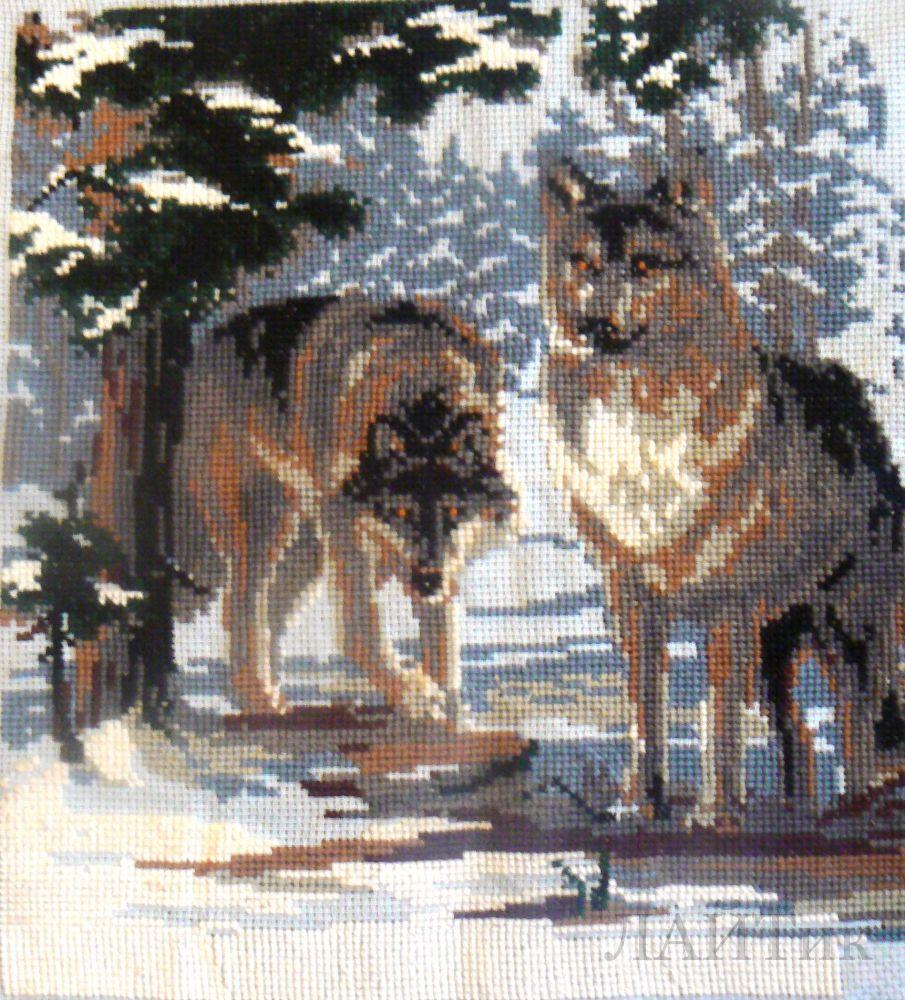 Cross Stitch - Схемы для вышивки /Животные/Волки/Волки 01 - схема для вышивки - волки в лесу.