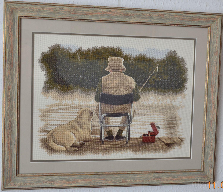 Вышивка друзья на рыбалке
