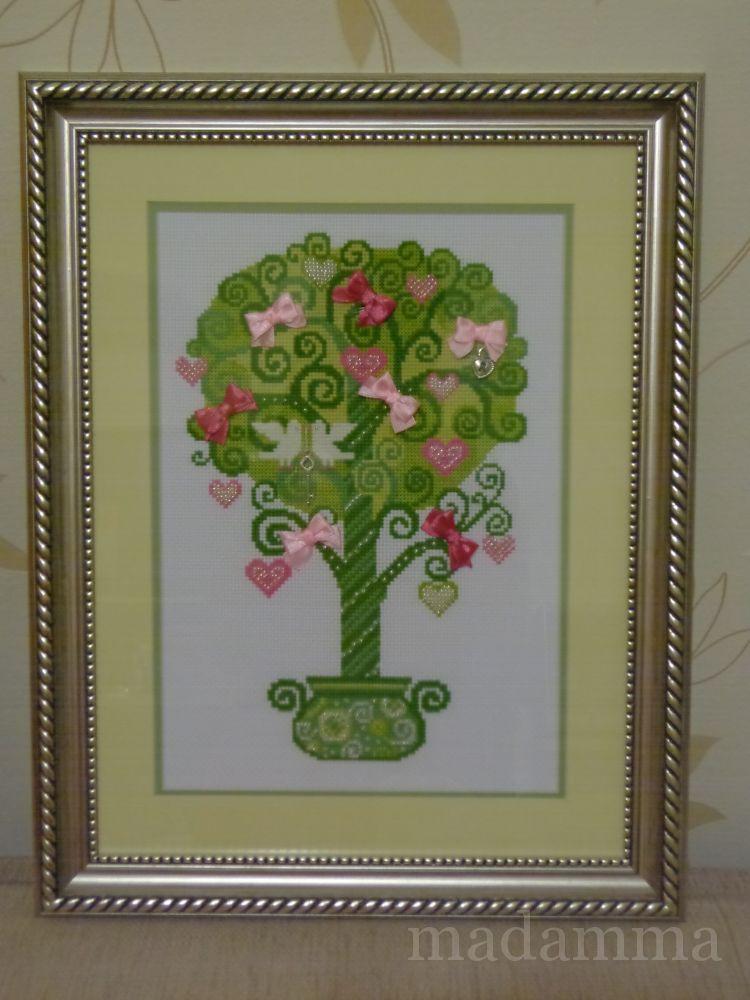"""Риолис 1295  """"Дерево счастья """".  Двойное паспарту (бежево-молочное и нежно-зеленое), багет под серебро в тон подвескам."""
