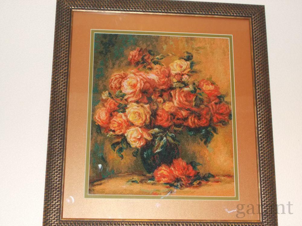 Вышивка крестом букет роз ренуара