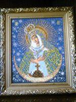 Икона пресвятой Богородицы Острабрамская, вышита...