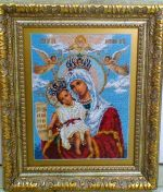 Вышивка - Икона Богородица Милующая.